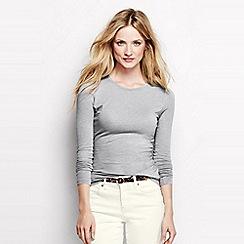 Lands' End - Grey petite long sleeve cotton/modal crew neck tee