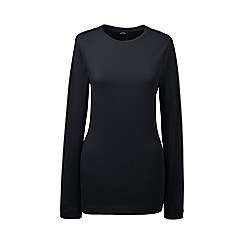 Lands' End - Black petite long sleeve cotton/modal crew neck tee
