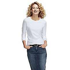 Lands' End - White women's petite long sleeve cotton/modal crew neck tee