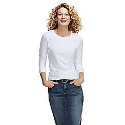 Lands' End - White women's petite long sleeve cotton/modal crew neck tee