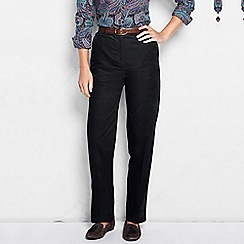 Lands' End - Black women's back-elastic tapered cord trousers