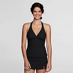 Lands' End - Black beach living v-neck tankini top