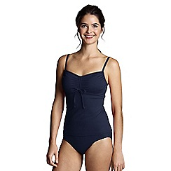 Lands' End - Blue women's d-cup scoop plain tankini top