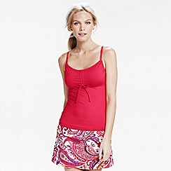 Lands' End - Pink women's d-cup scoop plain tankini top
