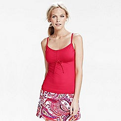 Lands' End - Pink women's dd-cup scoop plain tankini top