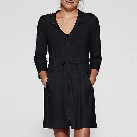 Lands+ End - Black roll-sleeve hooded cover-up
