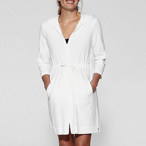 Lands+ End - White roll-sleeve hooded cover-up
