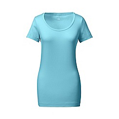 Lands' End - Blue short sleeve fitted cotton/modal scoop neck tee