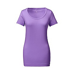 Lands' End - Purple short sleeve fitted cotton/modal scoop neck tee