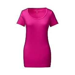 Lands' End - Pink short sleeve fitted cotton/modal scoop neck tee
