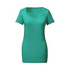 Lands' End - Green short sleeve fitted cotton/modal scoop neck tee