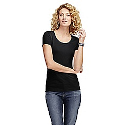 Lands' End - Black women's petite short sleeve fitted cotton/modal scoop neck tee