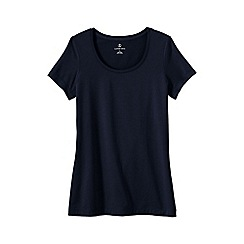 Lands' End - Blue women's petite short sleeve fitted cotton/modal scoop neck tee