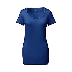 Lands' End - Blue petite short sleeve fitted cotton/modal scoop neck tee