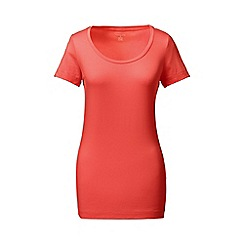 Lands' End - Orange short sleeve fitted cotton/modal scoop neck tee