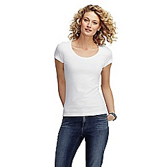 Lands' End - White women's petite short sleeve fitted cotton/modal scoop neck tee