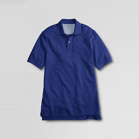 Lands+ End - Blue men+s tailored fit short sleeve banded pique polo