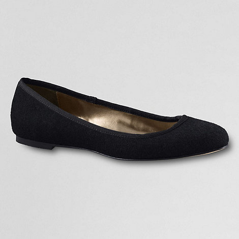 Lands+ End - Black women+s classic ballet shoes