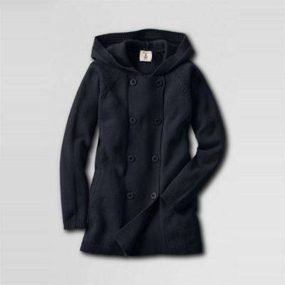 Blue Girls Double-breasted Hooded Cardigan