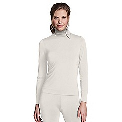 Lands' End - Cream women's regular thermaskin heat roll neck