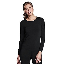 Lands' End - Black women's regular thermaskin heat crew neck