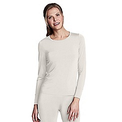 Lands' End - Cream regular thermaskin heat crew neck