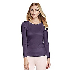 Lands' End - Purple women's feminine silk thermal crew neck top