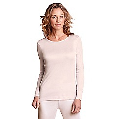 Lands' End - Pink feminine silk thermal crew neck top