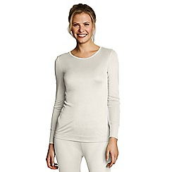 Lands' End - Cream women's feminine silk thermal crew neck top