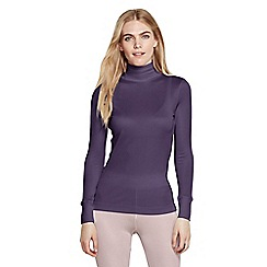 Lands' End - Purple women's feminine silk roll neck
