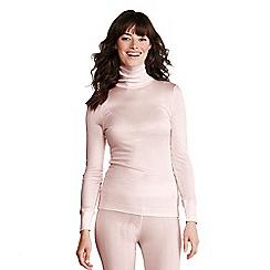 Lands' End - Pink women's feminine silk roll neck