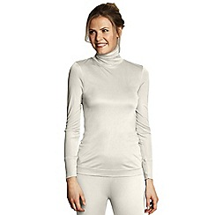 Lands' End - Cream women's feminine silk roll neck