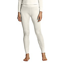 Lands' End - Cream women's feminine silk longjohns