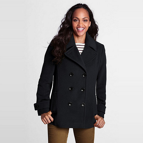 Lands+ End - Black Luxe Wool Pea Coat