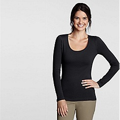 Lands' End - Black long sleeve cotton/modal scoopneck