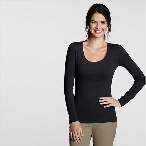 Lands+ End - Black long sleeve cotton/modal scoopneck