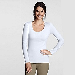 Lands' End - White long sleeve cotton/modal scoopneck