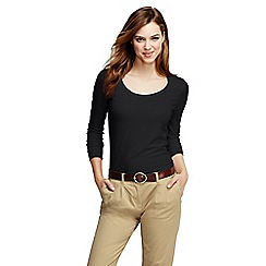 Lands' End - Black petite long sleeve cotton/modal scoop neck tee