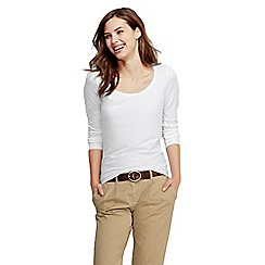 Lands' End - White petite long sleeve cotton/modal scoop neck tee