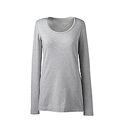 Lands' End - Grey plus long sleeve cotton/modal scoop neck tee