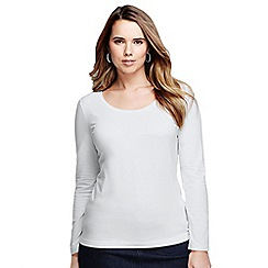 Lands' End - White women's plus long sleeve cotton/modal scoop neck tee
