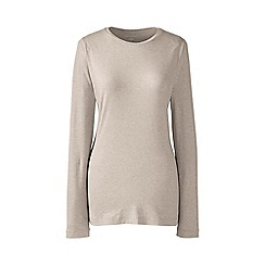 Lands' End - Plus Size Beige regular long sleeve cotton/modal crew neck tee