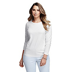 Lands' End - White women's plus long sleeve cotton/modal crew neck tee