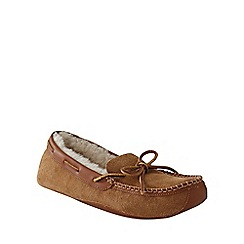 Lands' End - Beige men's sheepskin moccasin slippers