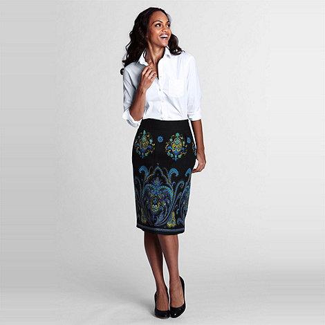 Lands+ End - Multi Windowpane Flare Skirt