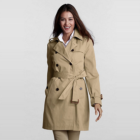 Lands+ End - Green Modern Rain Trenchcoat