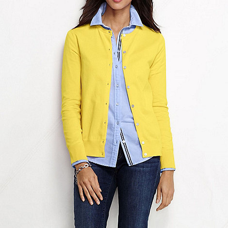 Lands+ End - Yellow women+s regular long sleeve supima fine gauge cardigan