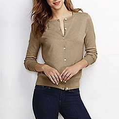 Lands' End - Beige women's regular long sleeve supima fine gauge cardigan