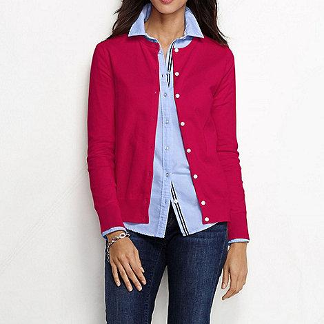 Lands+ End - Red women+s regular long sleeve supima fine gauge cardigan