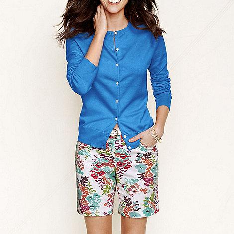 Lands+ End - Blue women+s regular long sleeve supima fine gauge cardigan